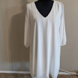 Lulu's White Chiffon Dress